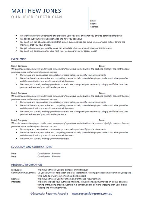 Successful Cv Template by Professional Resume Cover Letter Writing Service