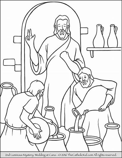 Jesus Coloring Pages Luminous Mysteries Rosary Cana