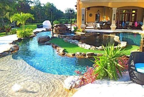 Backyard Pool With Lazy River by Backyard Oasis Lazy River Pool House Ideas