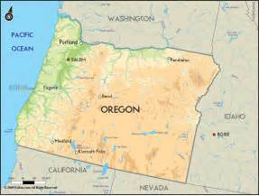 Geographical Map of Oregon and Oregon Geographical Maps Oregon
