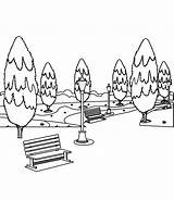 Park Coloring Benches Trees Bench Background Preview Illustration sketch template