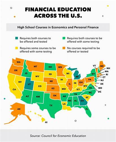 States Financially Literate Least Financial Map Education