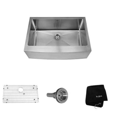 home depot kraus sink kraus farmhouse apron front stainless steel 30 in 0 hole