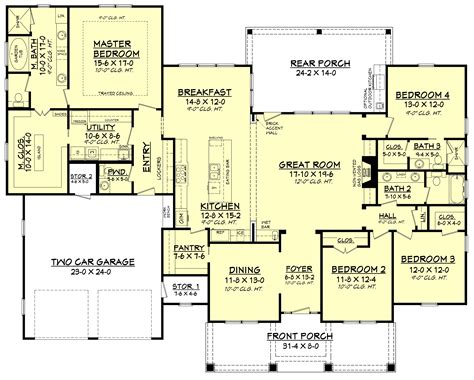 4 house plans 4 bedrm 2759 sq ft country house plan 142 1181