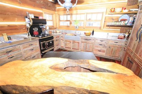 photo  red painted barnwood cabinets