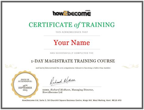 certificate of attendance seminar template magistrate course recruitment masterclass