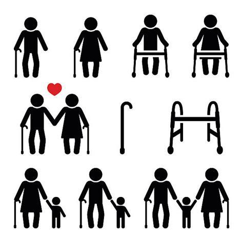 walking stick frame zimmer seniors illustration icons vector walker mobility illustrations clip grandparents senior grandson adult couple grandma royalty vectors