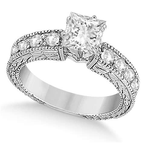 princess cut vintage engagement ring 14k white gold 1ct u5789