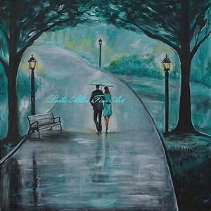"Original Acrylic Painting Couple ""Romantic Walk"" Couples ..."