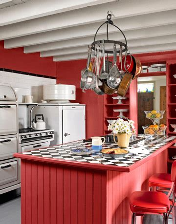 perfect red country kitchen cabinet design ideas for farmhouse