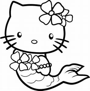 Cute Hello Kitty Coloring Pages As A Mermaid Cartoon