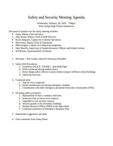 safety meeting agenda templates