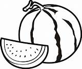 Watermelon Coloring Fruit sketch template
