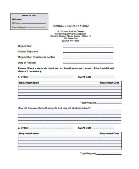 sample college budget forms   documents  word