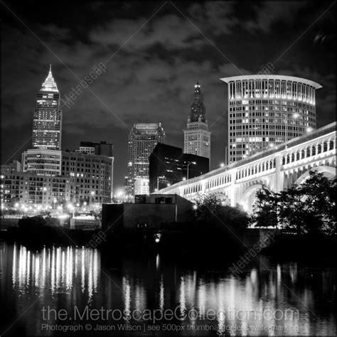 black and white photos of the cleveland skyline from the