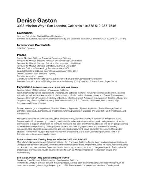 Resume For Licensed Esthetician by Cidesco Resume 2015