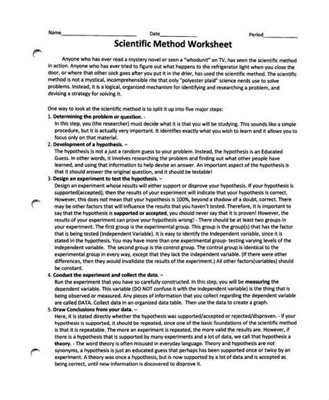 sample scientific method worksheet   documents