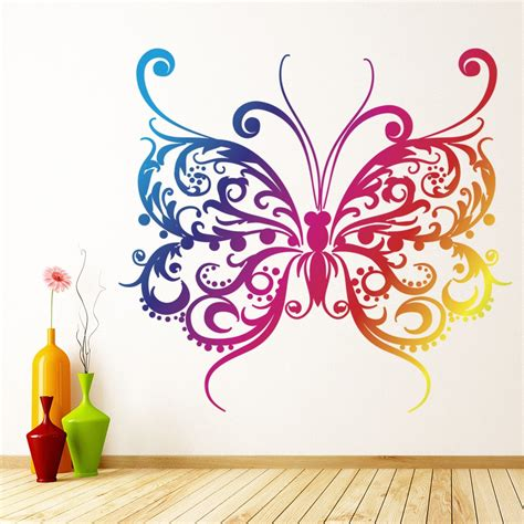 rainbow butterfly wall sticker pink purple wall decal