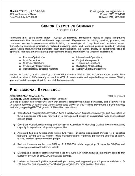 Executive Resumes Templates by Chief Executive Officer Resume Randomness Sle
