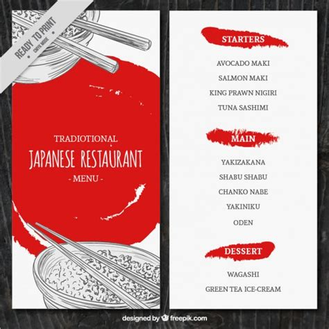 affiche cuisine retro sketches japanese food menu template vector free
