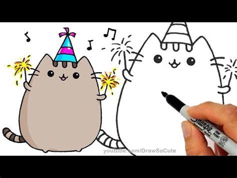 draw pusheen cat   years celebration step