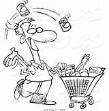 Shopping Grocery Coloring Cartoon Outline Clipart Vector Food Guy Leishman Ron List Royalty Carrying Graphic Clipground Cliparts Showing sketch template
