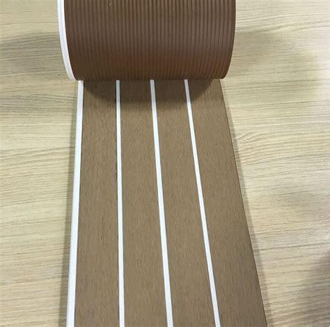 synthetic wood flooring 25 meter synthetic wood teak boat marine waterproof pvc190 5mm flooring decking with white
