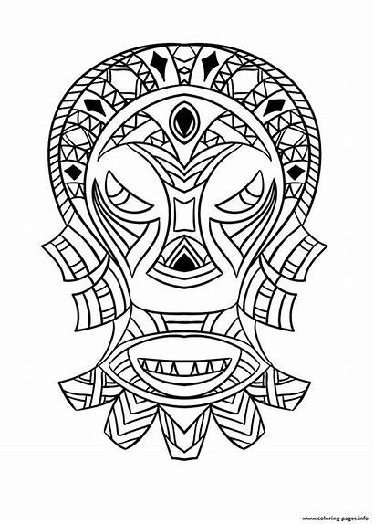 Coloring African Mask Adult Pages Printable Prints