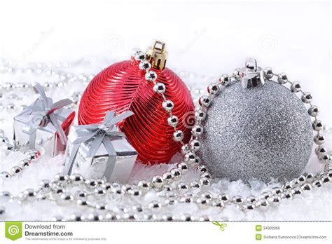 silver  red christmas decorations stock photo image