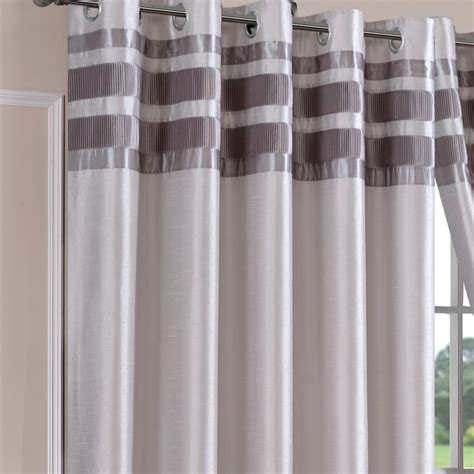 denver faux silk silver ready made eyelet curtains