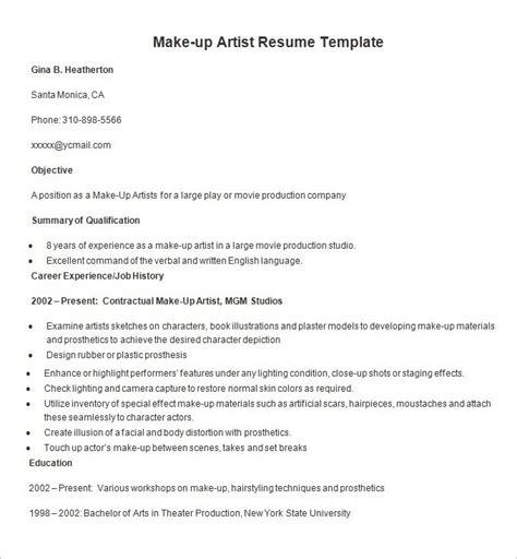 How To Make Resume Sle by Freelance Makeup Artist Cv Sle Mugeek Vidalondon