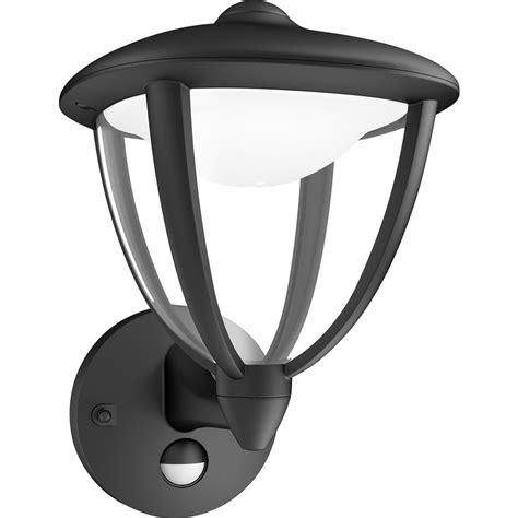 philips led robin outdoor pir wall lantern ip44 4 5w black