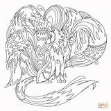Coloring Nine Fox Tale Million Pages Printable Kitsune Adult Template Millionaire Tales Sketch Shapeshift sketch template