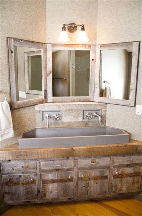 custom corner vanity rustic bathroom
