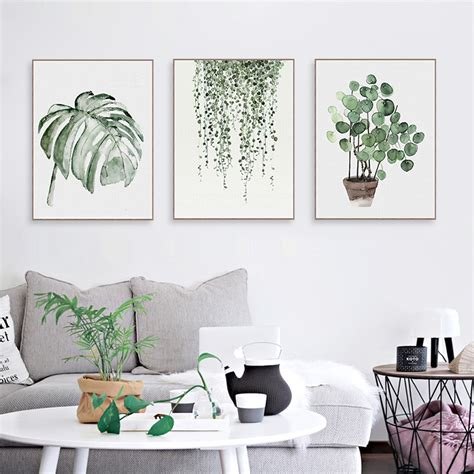 home decor wall posters watercolor green plants monstera nature posters and prints