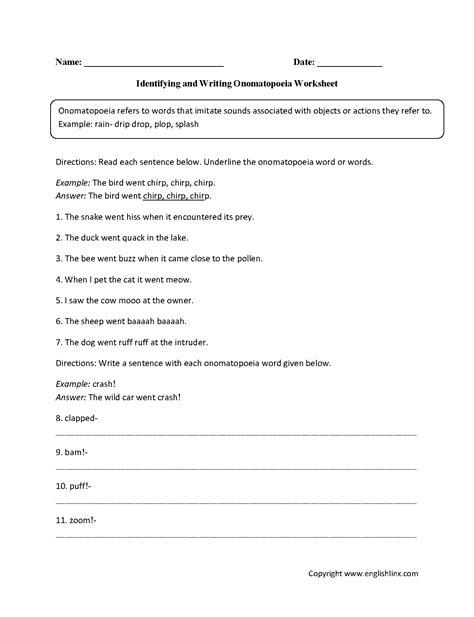 englishlinx onomatopoeia worksheets