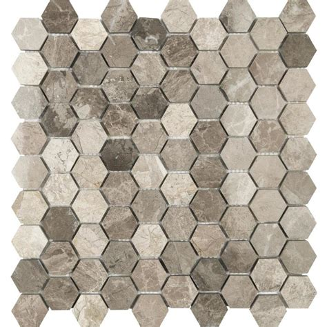 honeycomb mosaic floor tiles shop anatolia tile silver creek honeycomb mosaic marble wall tile common 12 in x 12 in actual