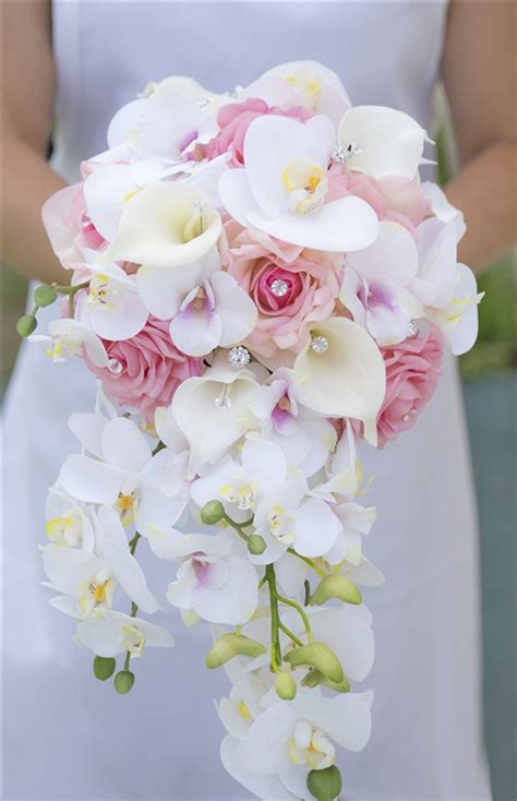 natural touch pink roses callas orchids brooch cascade
