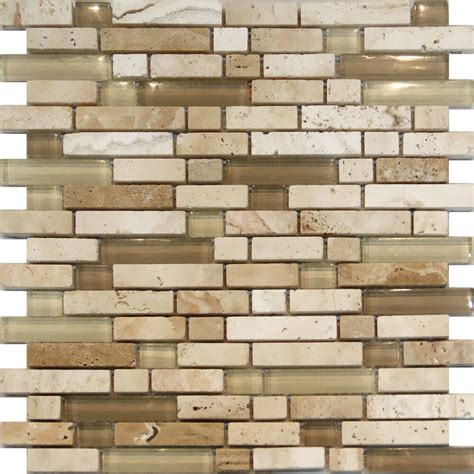 Mosaic Tile For Kitchen Backsplash by 1sf Beige Glass Travertine Linear Mosaic Tile