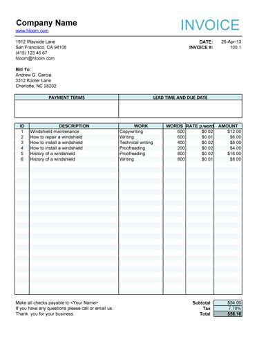 service invoice  article writers invoice template