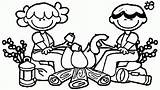 Coloring Campfire Cartoon Library Clipart Popular Coloringhome Clip sketch template