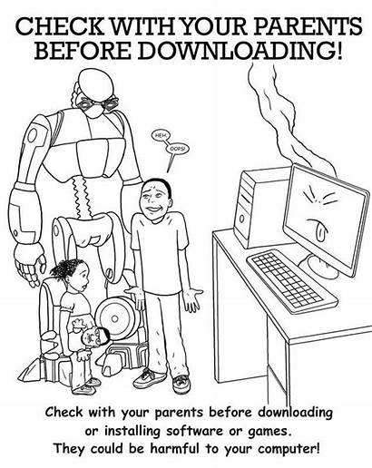 Coloring Safety Internet Printable Clipart Employee Library