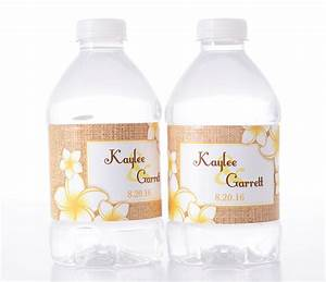 tropical flowers beach wedding water bottle labels With beach wedding water bottle labels