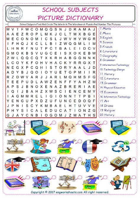 school subjects esl printable english vocabulary worksheets
