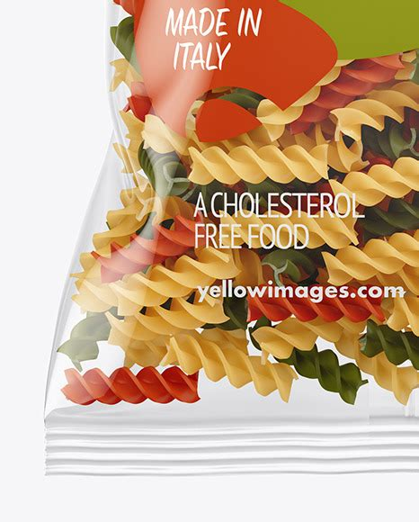 To download this image, create an account. Frosted Plastic Bag With Tricolor Chifferini Pasta Mockup ...