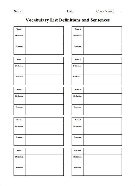 blank vocabulary worksheet templates  word