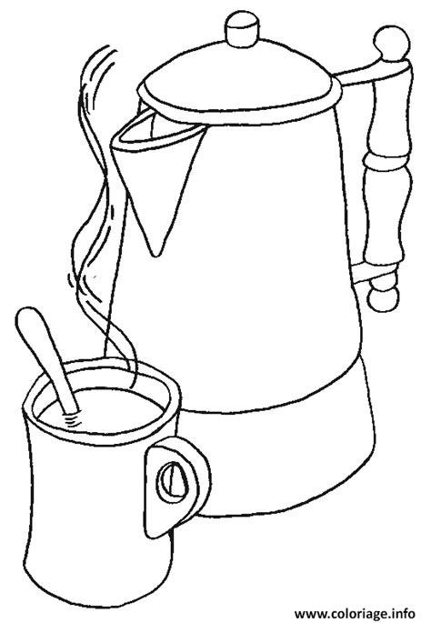 dessin de cuisine à imprimer coloriage cafetiere et sa tasse a cafe dessin