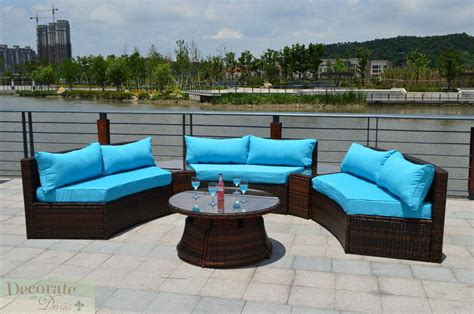6 seat curved outdoor patio furniture set 9 ft pe wicker