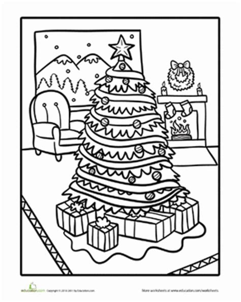 Living Room Christmas Scene | Coloring pages winter