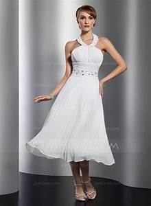 a line princess halter tea length chiffon homecoming dress With robe longueur mollet
